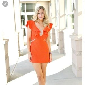 Three Floor Deep Orange For The Frill Mini Dress